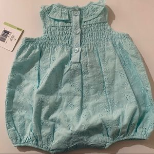 Little Me One Pieces - LITTLE ME Eyelet Aqua Sunsuit 3 months NWT